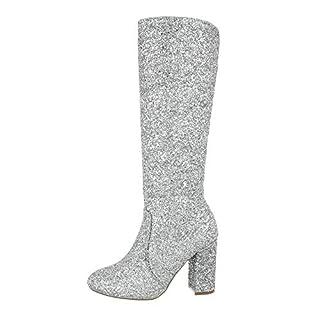 Ital-Design Damenschuhe Stiefel High Heel Stiefel Synthetik Silber Gr. 37