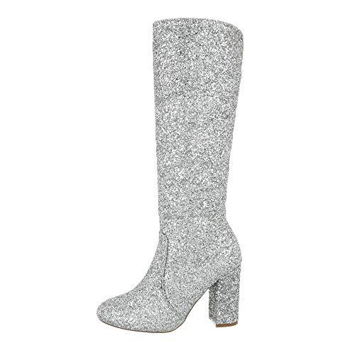 Silber Schnalle Stiefel (Ital-Design Damenschuhe Stiefel High Heel Stiefel Synthetik Silber Gr. 40)