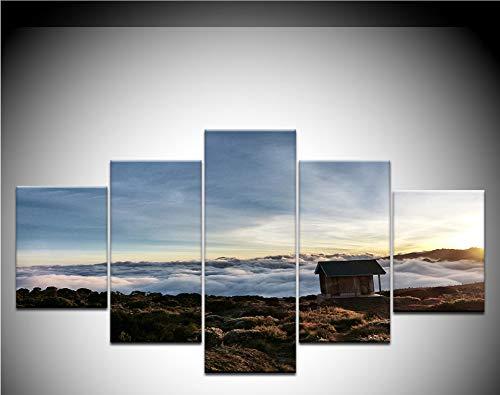 zhfq (Kein Rahmen) 5 Panel Hd Print Die Kabine Ist Auf Dem Gipfel des Hügels Landschaft Wand Poster Leinwand Kunst Malerei Für Zuhause Wohnzimmer Dekoration -