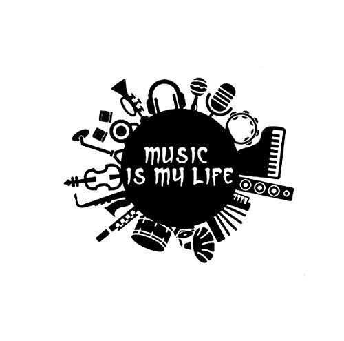 YOUYOUY 2Pcs Autoaufkleber Musik Ist Mein Leben Inschrift Gitarre Trommel Kontrabass Vinyl Schwarz Auto Aufkleber 15,8 cm * 12,6 cm