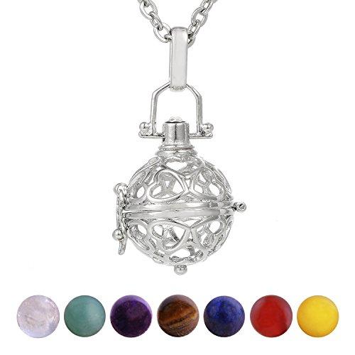 Morella Damen Halskette 70 cm Edelstahl mit Anhänger Love und 7 Edelsteinen Chakren-Kugeln in Schmuckbeutel