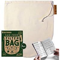 BOLSA DE LECHE VEGETAL - Algodón Natural (2 por pedido) | NECTARBAR (Eco) RAW FOOD FILTER BAG | Filtro para Leche de nueces, leche de almendras, ...
