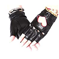 QAZ Winter Genuine Leather Fingerless Gloves Women Non-Slip Sports Breathable Cycling Fitness Gloves(Black),C,L