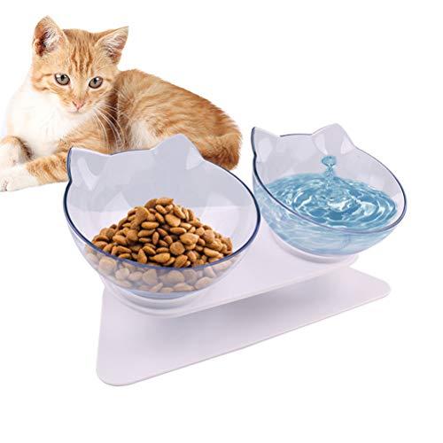 Comtervi Doppelter Futternapf, Katzennäpfe, Futternapf Katze, mit erhöhtem Ständer- rutschfeste Katzenschale - Haustier Essen Wasser Schüsseln