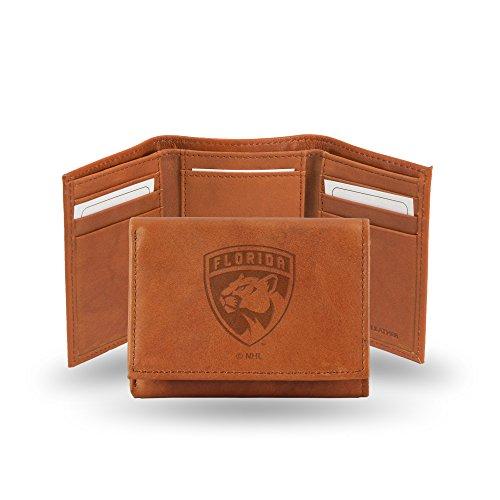Unbekannt Rico Herren NHL Florida Panthers geprägtes Leder Trifold Wallet, Tan, 12,7x 7,6cm