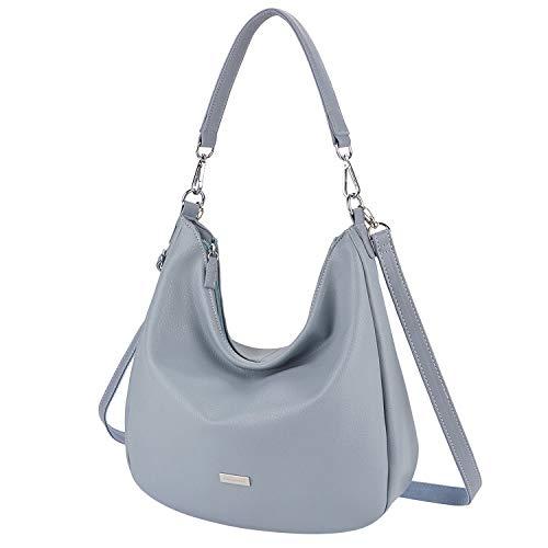 Handtasche Damen, Fanspack Elegante Damenhandtasche Große Schultertasche Frauen Umhängetasche Schwarz (Classic schwarz) (Mode schwarz) (Schwarz + Gürtel) (Grau blau) -