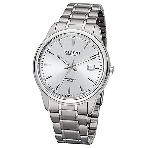 Regent Herren Uhr BA-322 Metall Quarz Armband-Uhr Titan-Uhr Silber URBA322