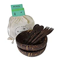 Natural coconut acai bowls wooden spoons forks set of 2 with free gift bag greeting card and healthy recipe by SHAKA UAE 100% organic kitchenware cutlery for smoothie buddha vegan salad or decoration