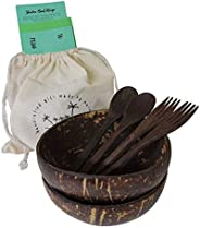 Natural coconut acai bowls wooden spoons forks set of 2 with free gift bag greeting card and healthy recipe by