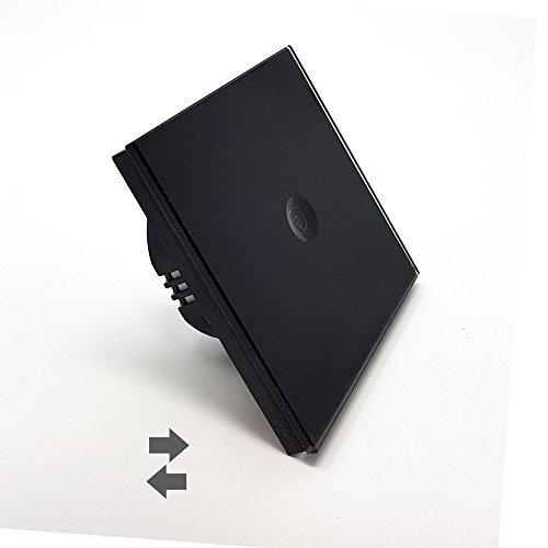 Interrupteur tactile va-et-vient 1 bouton Lumtouch - Design moderne, épuré et élégant - Garantie 5 ans - Modèle Noir