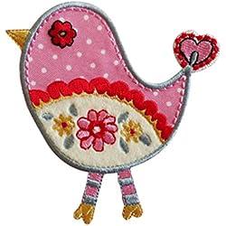 TrickyBoo 2 Ecussons Oiseau Rose 9X9Cm Étoiles Cercle Denim 7X7Cm Patch Appliques thermocollant Brode Broderie pour Vetement Jeans Veste Enfant Bebe Femme avec Dessin Zurich Suisse pour France