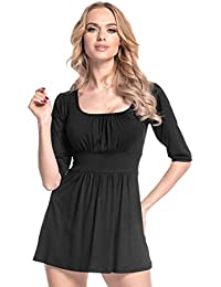 Glamour Empire Women's Sexy Ruched Jersey Tunic Top Extra Short Dress 940