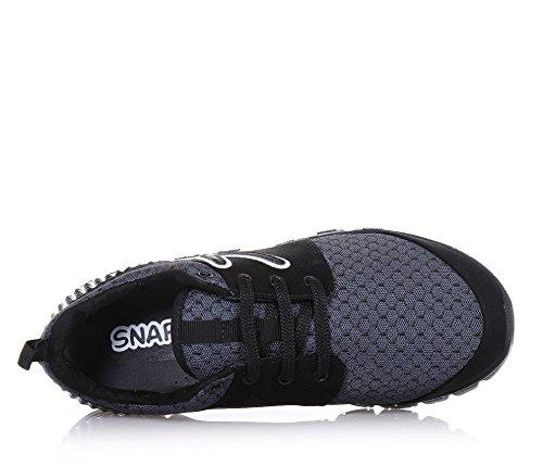 SNAPPY - Schwarzer Sportschuh mit Schnürsenkeln, aus Stoff, seitlich ein Logo, sichtbare Nähte und Gummisohle, Mädchen, Damen Schwarz