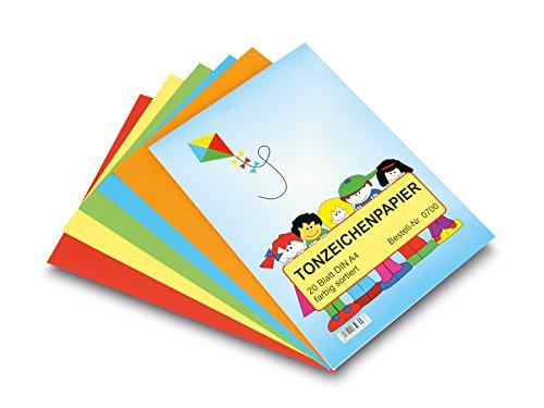 Tonzeichenpapier A4 10 Farben sortiert 20 Blatt