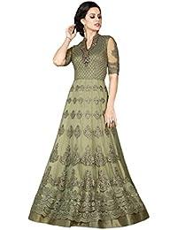 Desinger Net Mehendi Green Color Embroidered Anarkali Suit