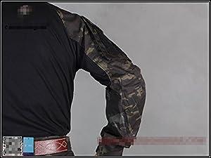 tactique militaire armée chasse EDR hommes Gen3G3combat pour homme à manches longues avec Coudières pour paintball Airsoft Camouflage MultiCam Noir
