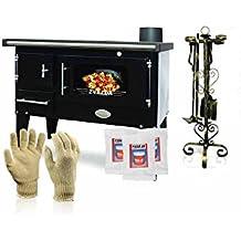 Cocina de leña Zvezda, modelo Narodna E; negra, salida de calor de 7