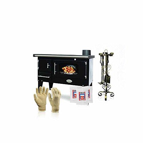 Cocina de leña Zvezda, modelo Narodna E; negra, salida de calor de...