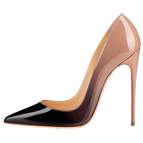 ENMAYER Femmes Sexy Dégradé et Imprimer Stiletto High Heel Pumps Pointe Toe Slip-on Chaussures Plus Size Abricot(changement graduel)