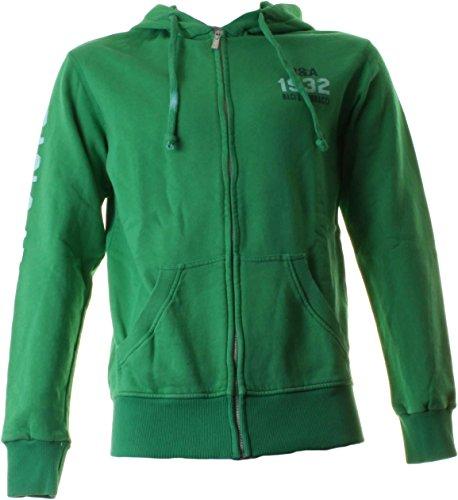 BACI & ABBRACCI Felpa full zip e cappuccio uomo 100% cotone verde BAM910-VERDE