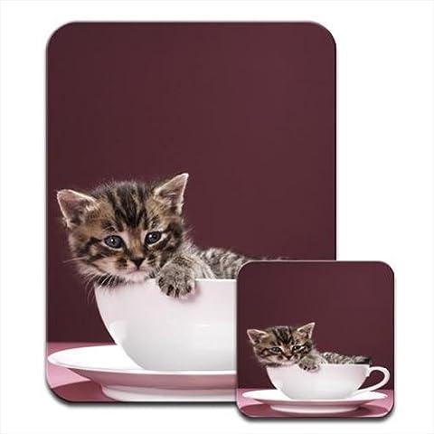 Kitten Sat in China Cup & Saucer Tea Set Premium Mousematt & Coaster (Cina Tazze Set)