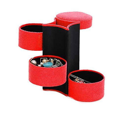 1Pc Red 3-Schicht-Schmuck Storage Box Flanell Zylinder Bewegliche Jewelry Box rollen oben faltbare Ohrring Schmuck-Anzeigen-Organisator Schmuck Organizer