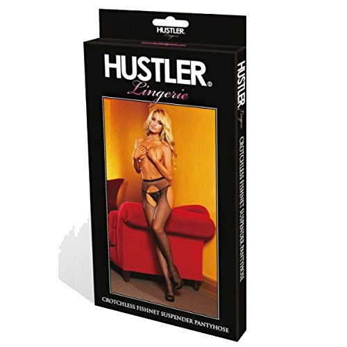 Hustler Women's Crotchless Fishnet Suspender Pantyhose, Black, One Size - Black Fishnet Suspender