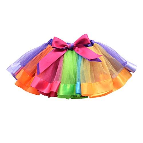 OULII Girls Layered Regenbogen Tutu Rock Rüsche Tiered Tanz Performance Kleid für Mädchen 7-9 Jahre alt