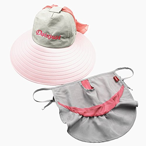 Strand Hut UPF50 + Sommersaison Frau Baumwolle Sonnenschutz 360-Grad-All-Inclusive UV-Schutz Erweitern Sie die Krempe 3D-Masken Leere Oberseite Einstellbar, Rosa, 57cm ()