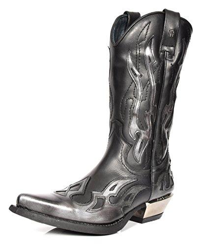 New Rock Leder Cowboy Stiefel Grau Flamme Entwurf Spitzschuh Schuhe Western Heels (EU 42) (Stiefel Western Lace-up Leder)