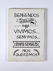 Cuadros de Madera-Estilo Vintage- Con Frases Motivadoras-Bienvenidos a Nuestro Hogar-Personalizado-Decoración