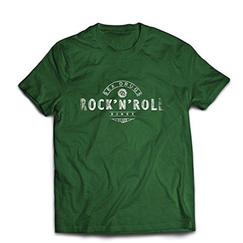 Maglietta da uomo sex drugs and rock and roll - anni '60, 70, 80 - band rock vintage - musicamente - abbigliamento da concerto (medium verde scuro multicolore)