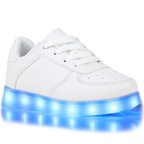 Sofort lieferbar aus DE - Leuchtende und Blinkende Damen Herren Kinder Mädchen Jungen Sneakers High und Low Led Light Farbwechsel Schuhe LED Licht Weiss All