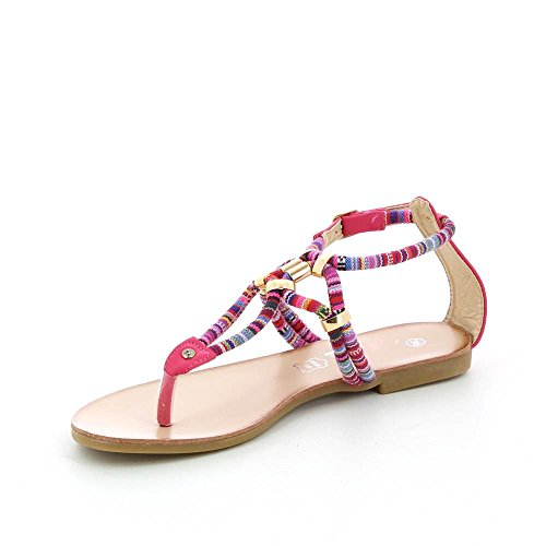 Sandales plates à corde colorée Rose