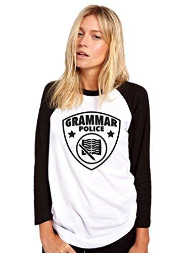 HotScamp Grammar Police - Funny English Language - Womens Baseball Top
