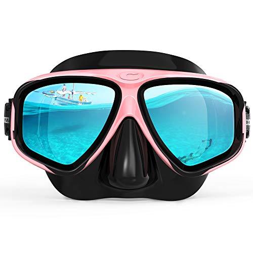 COPOZZ Taucherbrille Schnorchelbrille für Erwachsene Damen und Herren, Wasserdicht Tauchmaske Schwimmenbrille für Schwimmen, Schnorcheln, Tauchen, Lecksicher, UV Schutz, Verstellbares Silikonband