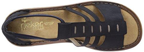 Rieker 608E0 Damen Knöchelriemchen Sandalen Blau (pazifik/murmel/navy / 14)