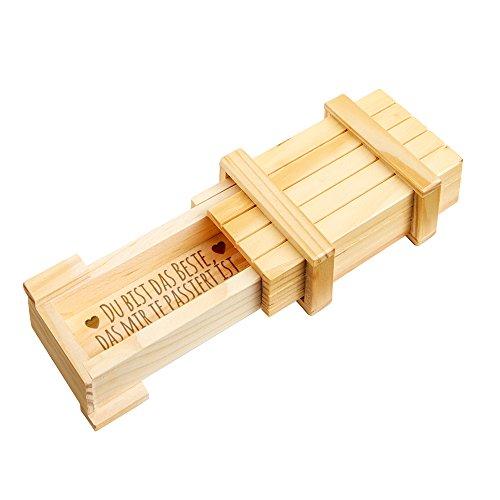 Casa Vivente Magische Geschenkbox - Schmuckkästchen mit Gravur - Du bist das Beste - Puzzle-Box aus Holz - Hell - Geschenkidee zum Valentinstag und Geburtstag - Geschenk für Frauen und Männer (Geschenk Puzzle-box)