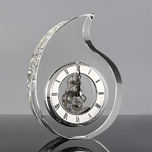 ZYWTZ Reloj De Mesa De Cristal Reloj Electronico Sala De Estar Dormitorio Comedor Reloj De Oficina Reloj Decorativo De Escritorio,Silver