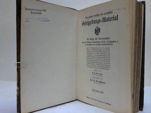 Das gesamte deutsche und preußische Gesetzgebungs-Material