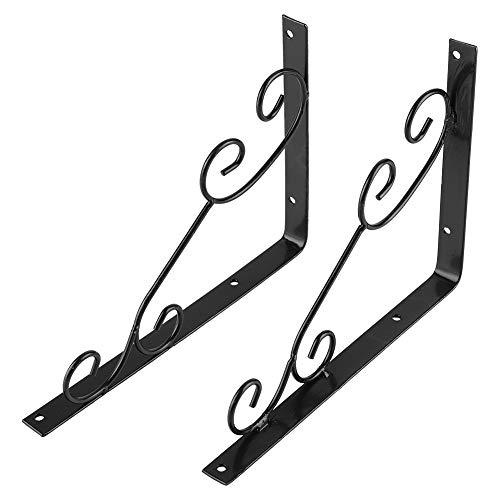 Garosa Metall Buchstützen L Form Rahmen Studenten Wandbehang Regale Einstellbar Buchständer für Schule Haus Tisch Büro Dekor Schwarz (2 Pcs) -