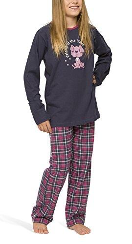 Mädchen Schlafanzug mit Flanellhose - Moonline, Farbe:navy;Größe:128