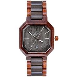 ZLYC Unisex Holz Bangle Quarz-Uhr Mit Kalender-Display Two - Tone - Natürliche Sandelholz Hölzerne Uhr Japanisches Quarzwerk Zeiger