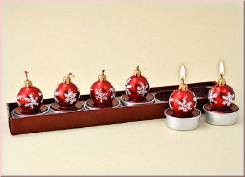 Christbaumkugeln Teelichte 6-teiliges Set für Teelichthalter als Weihnachtskerze