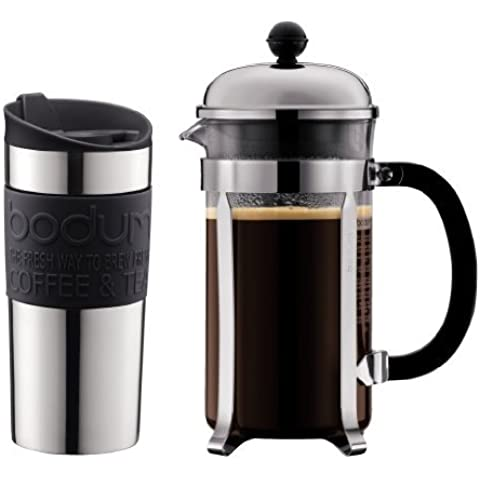 Bodum Chambord - Cafetera, 8 tazas, 1 l y Travel Mug de acero inoxidable, 0,35 l, color negro