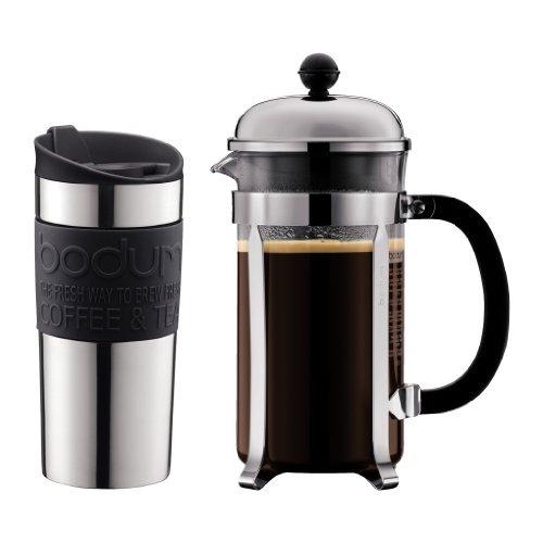 Bodum - K11068-01 - Set Chambord - Coffret Cafetière Chambord 8 Tasses - Travel Mug Inox 0,35 L avec Bande Silicone Noire