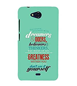 Fuson Designer Back Case Cover for Micromax Canvas Play Q355 (dream believer thinkers greatness surround yourself )