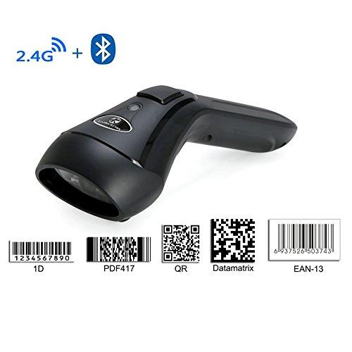 Koolertron Barcode Scanner USB 1D & 2D 2.4G Wireless + Bluetooth Automatisch QR PDF417 Data Matrix wiederaufladbare Barcodescanner mit Laptops / PC / Android / Apple IOS (1D & 2D)