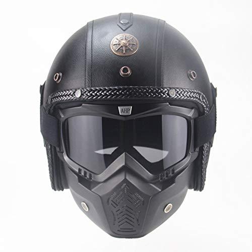 Mezzo casco retrò da motocross con maschera per adulto casco da moto unisex-nero intrecciato con maschera, Xx
