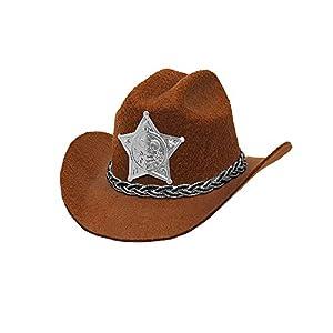WIDMANN Srl Mini Gorro Cowboy con Estrella de Sheriff de fieltro Marrón, tapas y solideos para Adultos, Multicolor, wdm68571